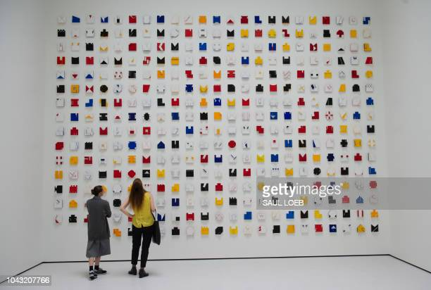 Visitors tour artist Lygia Pape's Livro do Tempo I as they visit the Pavilions a new building at the Glenstone Museum combining art architecture and...