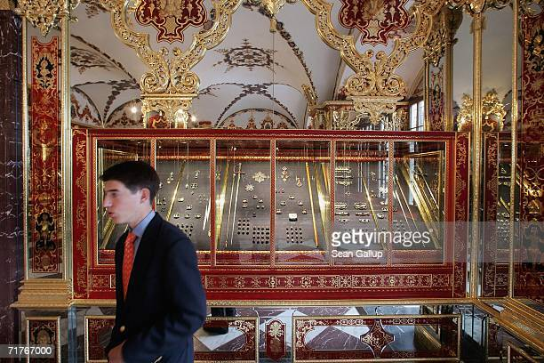 Visitors tour exhibits at the Gruenes Gewoelbe Museum on the day of the museum's reopening September 1 2006 in Dresden Germany The Gruenes Gewoelbe...