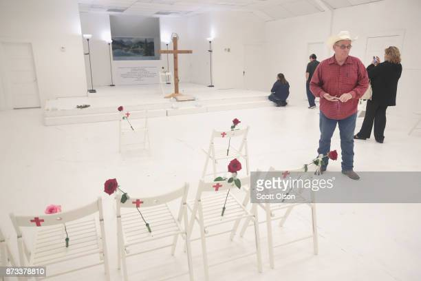 Visitors tour the First Baptist Church of Sutherland Springs after it was turned into a memorial to honor those who died on November 12 2017 in...