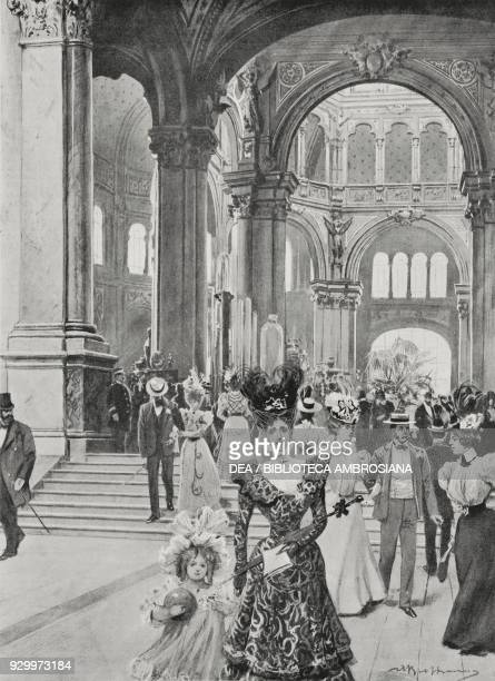 Visitors under the central rotonda at the National Exhibition of Turin Italy drawing by Achille Beltrame from L'Illustrazione Italiana Year XXV No 35...