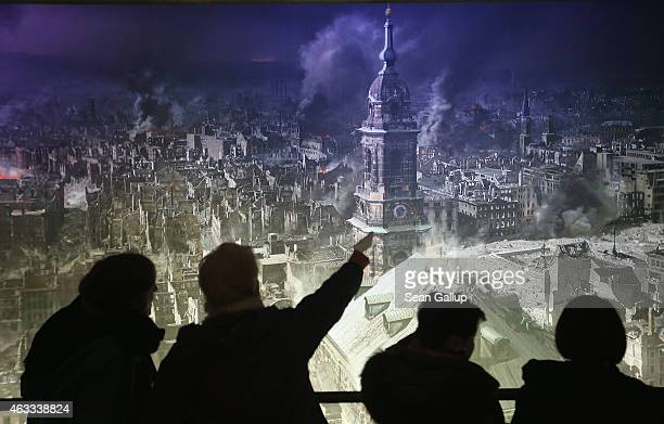 Visitors view a 360 degree panorama display by artist Yadegar Asisi that depicts the city of Dresden in the aftermath of the February 13 1945 Allied...