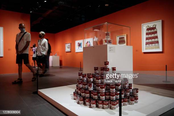 Visitors view 'Campbell's Soup Can' by Andy Warhol at the 'Andy Warhol Pop Art' exhibition at the RCB Galleria on August 12 2020 in Bangkok Thailand...