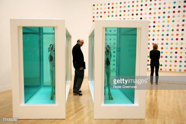 Visitors view Damien Hirst's 'Mother and Child Divided' and 'Argininosuccinic Acid' at the Turner Prize Retrospective exhibition at the Tate Britain...