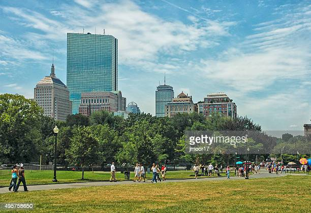 Visitors View Skyline from Boston Commons