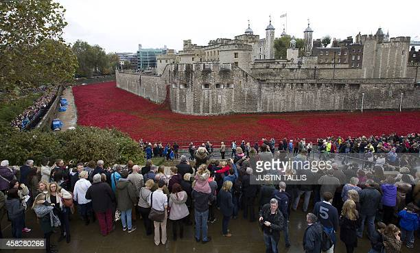 """Visitors view the """"Blood Swept Lands and Seas of Red"""" installation by ceramic artist Paul Cummins and theatre stage designer Tom Piper, marking the..."""