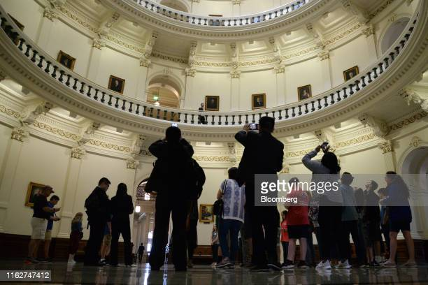 Visitors view the rotunda at the Texas State Capitol in Austin, Texas, U.S., on Thursday, April 18, 2019. Lawmakers in Texas are still grappling with...