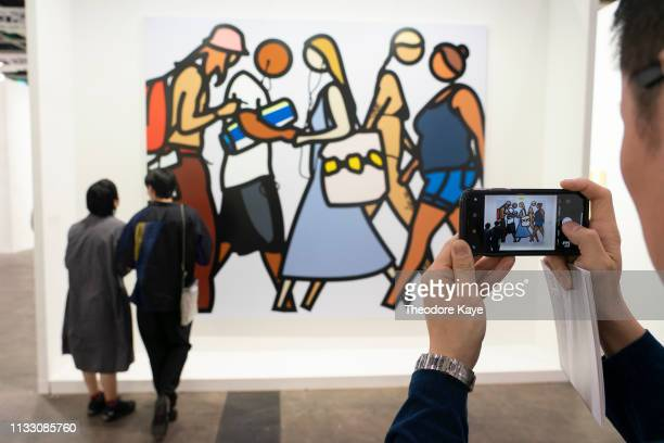 Visitors viewing artwork at Art Basel on March 27, 2019 in Hong Kong, Hong Kong. Art Basel Hong Kong 2019 will be open to public from March 29 to...