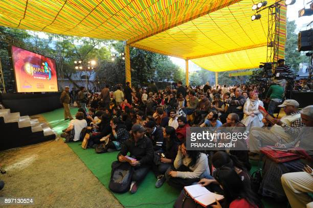 Visitors wait for Salman Rushdie video link session to start during DSC Jaipur Literature Festival in Jaipur on January 24 2012 A planned video...