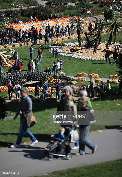 Visitors walk across the World's largest pumpkin exibition at Ludwigsburg Castle on September 19 2010 in Ludwigsburg Germany During the annual...