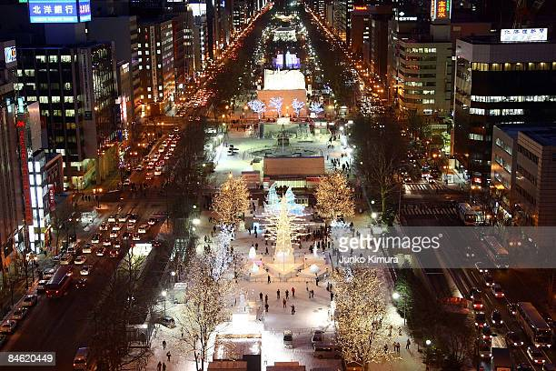 Visitors walk around exhibits at the 60th Sapporo Snow Festival ahead of its opening at Odori Park on February 4, 2009 in Sapporo, Japan. The...
