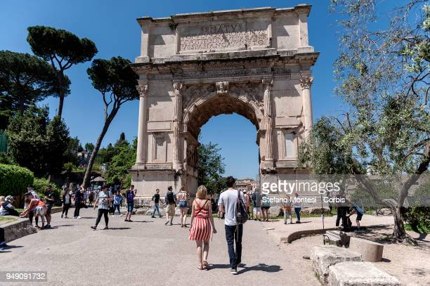 Visitors walk at the Palatino Hill in the Ancient Roman Forum on April 20 2018 in Rome Italy Presented to the press the House of Augustus and the...
