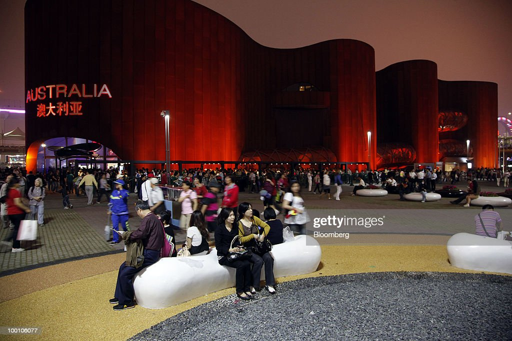 Visitors walk in front of the Australia Pavilion at the 2010 World Expo site in Shanghai, China, on Thursday, May 20, 2010. The 2010 World Expo will take place until October 31. Photographer: Qilai Shen/Bloomberg via Getty Images