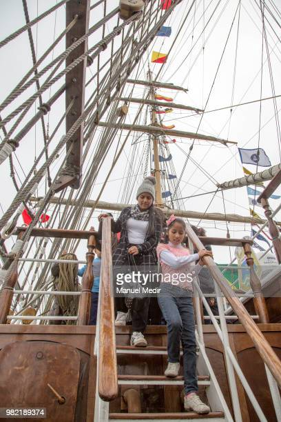 Visitors walk on the ARC Gloria barque from Colombia during the Velas Latinoamerica 2018 Nautical Festival at Callao Naval Base on June 21 2018 in...