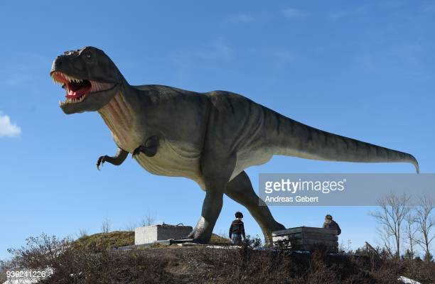Visitors walk past a representation of a Tyrannosaurus rex in front of the Altmuehltal Dinosaur Museum on March 21 2018 in Denkendorf Germany The...