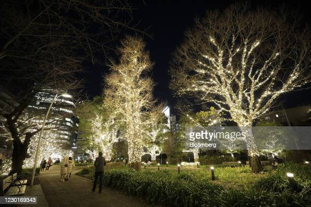 Visitors walk past illuminated trees ahead of Christmas at the Tokyo Midtown complex in Tokyo, Japan, on Wednesday, Dec. 16, 2020. Japan is scheduled...