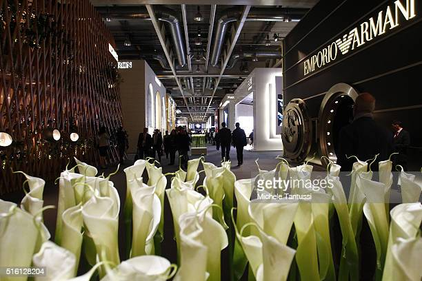 Visitors walk past the stands at the Baselworld Watch and jewelery Fair trade on March 17 2016 in Basel Switzerland Held annually Baselworld is the...