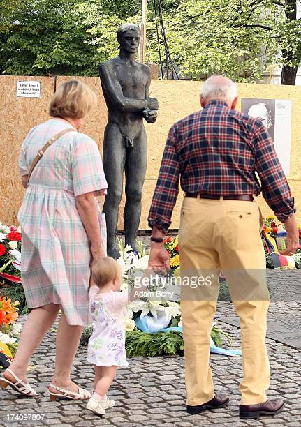 Visitors walk through a memorial to the 1944 assassination attempt on Adolf Hitler on the 69th anniversary of the failed mission on July 20 2013 in...