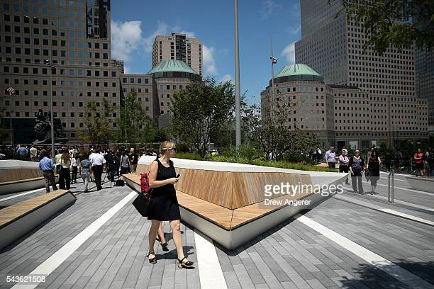 Visitors walk through Liberty Park as it opens to the public for the first time June 29 2016 in New York City Liberty Park elevated above Liberty...