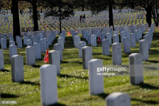 Visitors walk through rows of headstones at Arlington National Cemetery on Veterans Day November 11 2017 in Arlington Virginia Veterans Day honors...