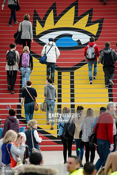 Visitors walk through the fairground during the Leipzig Book Fair 2016 on March 18, 2016 in Leipzig, Germany. From March 17 to March 20 more than...