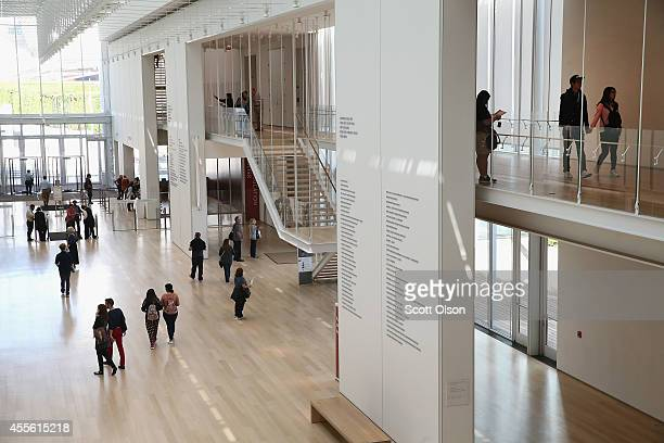 Visitors walk through the Kenneth and Anne Griffin Court in the Modern Wing at the Art Institute of Chicago on September 17, 2014 in Chicago,...