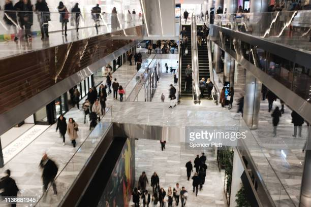 Visitors walk through the newly opened luxury shopping mall at the Hudson Yards development on the West Side of Midtown Manhattan on March 18, 2019...