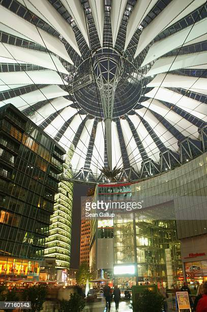 Visitors walk through the Sony Center at Potsdamer Platz October 2, 2007 in Berlin, Germany. According to recent news reports both Sony and...