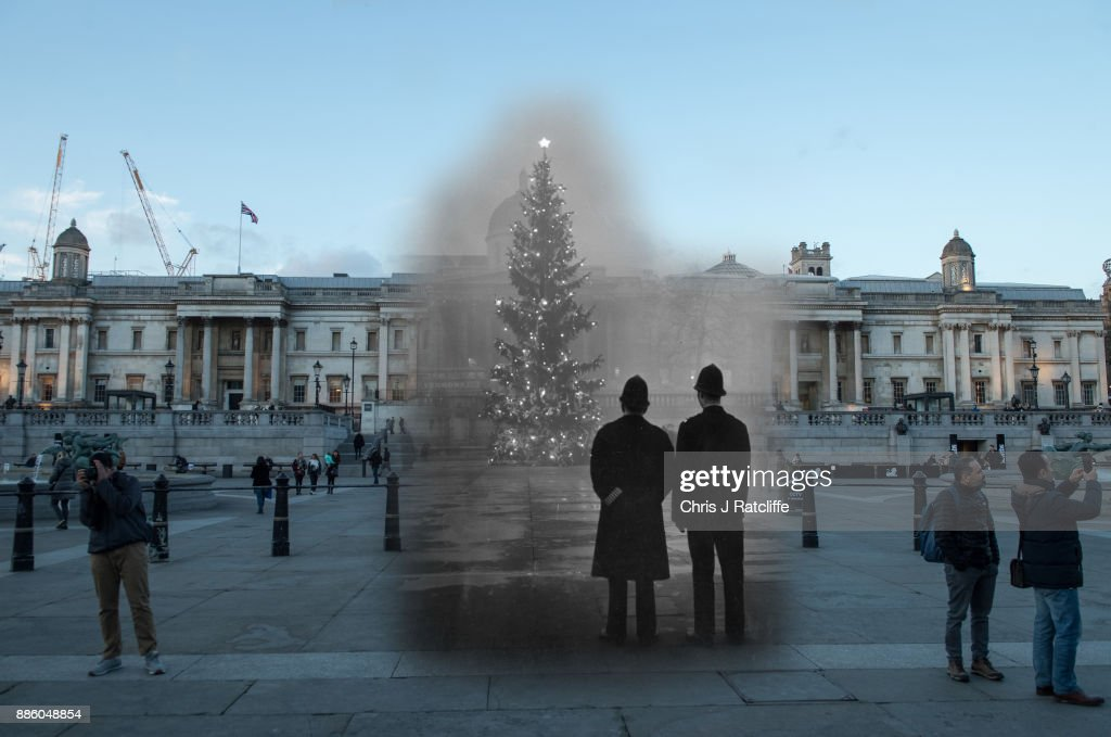 Trafalgar Square in 1948 and 2017.