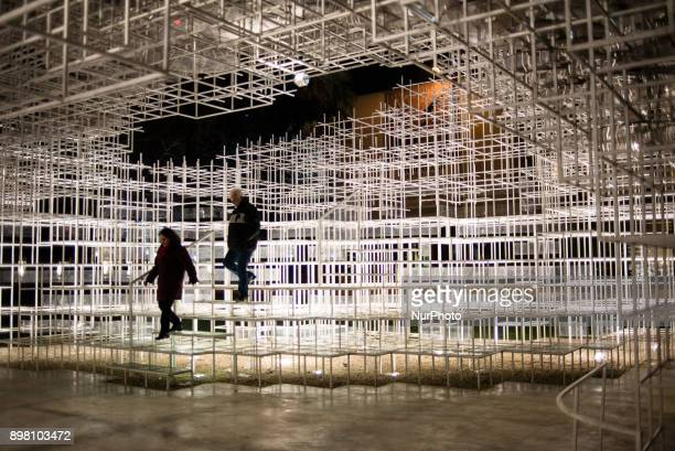 Visitors walking along the Cloud pavilion in Tirana Albania on December 24 2017 The Cloud pavilion is installation by Japanese architect Sou Fujimoto