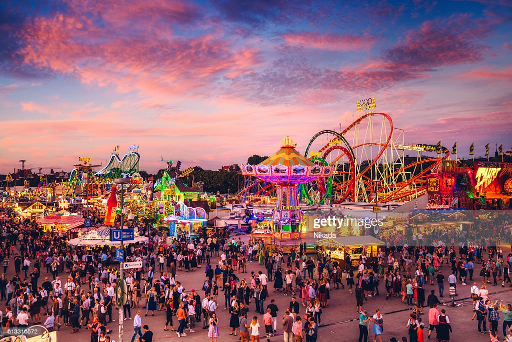 Visitors Walking Through Oktoberfest Fairgrounds Munich ...