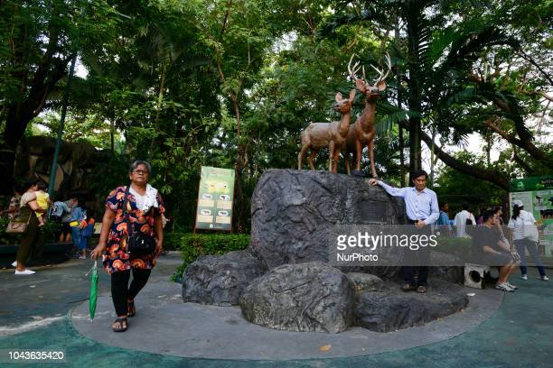 A Visitors walks past a statue of a Deer statue at Dusit Zoo in Bangkok Thailand 30 September 2018 Dusit Zoo is Thailand's first public zoo opened 80...