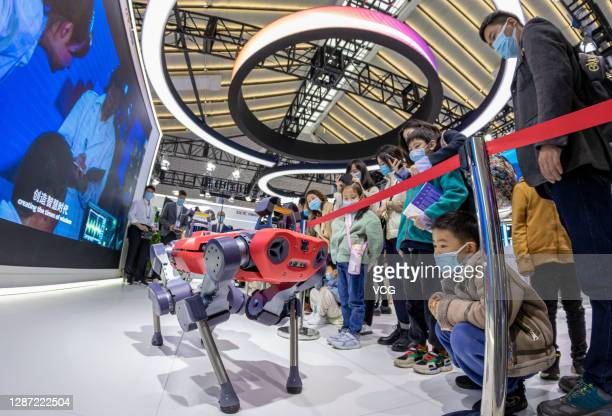 Visitors watch ANYmal walking dog during the Light of the Internet Expo as part of the 2020 Internet Conference on November 22, 2020 in Wuzhen,...
