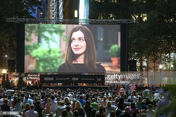 """Visitors watch director Terrence Malick's masterful debut film """"Badlands"""" on a big screen during the HBO Bryant Park Summer Film Festival at Bryant..."""
