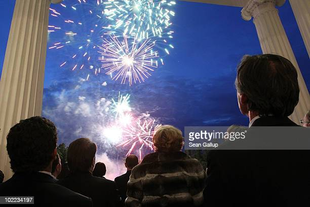 Visitors watch the firework during the Mariinsky Ball of Montblanc White Nights Festival at Catherine Palace on June 19 2010 in Pushkin near Saint...