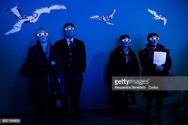 Visitors watcha 3D video about The Original Manuscript of Leonardo da Vinciâs Codex on flight of birds on display at Romeâs Capitolium Museums on...