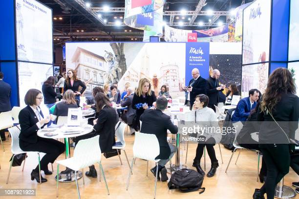 Visitors watching the stand Italia at FITUR International Tourism Fair at Ifema 24 January 2019