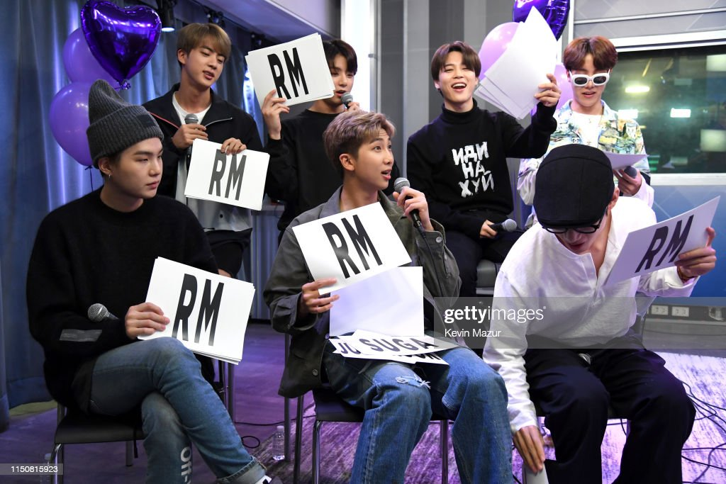 """BTS Visits """"The Morning Mash Up"""" On SiriusXM Hits 1 Channel At The SiriusXM Studios In New York City : News Photo"""
