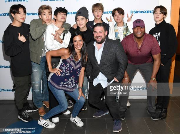 BTS visits The Morning Mash Up on SiriusXM Hits 1 Channel with SiriusXM Hits 1 Hosts Nicole Ryan Ryan Sampson and Stanley T at SiriusXM Studios on...