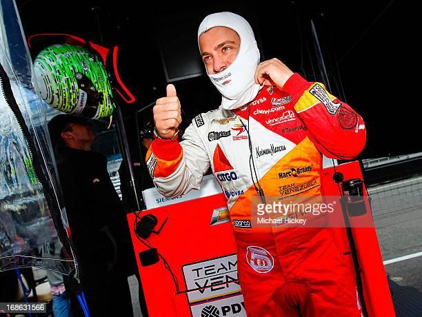 E J Viso of Venezuela driver of the Andretti Autosport Dallara Chevrolet prepares during Indianapolis 500 practice at the Indianapolis Motor Speedway...