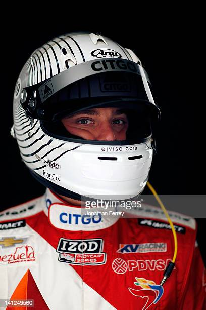E J Viso of Venezuela driver of the Citgo KV Racing Technologies Chevy Dallara DW12 poses for a portrait during theIZOD INDYCAR Series Media day at...