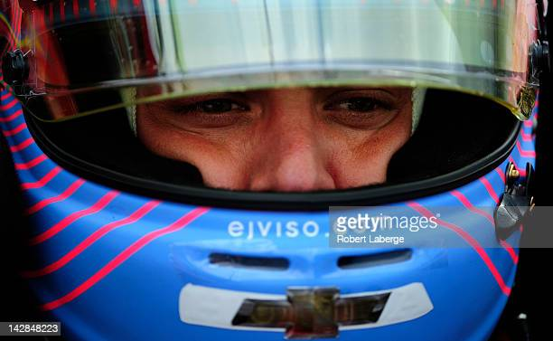 E J Viso of Venezuela driver of the KV Racing Technology Dallara Chevrolet during practice for the IndyCar Series Toyota Grand Prix of Long Beach on...