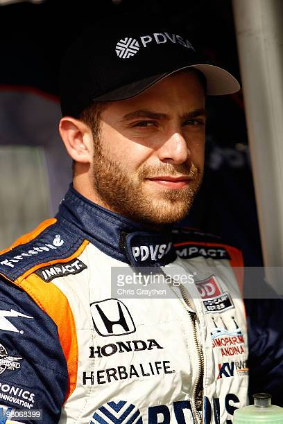 J Viso of Venezuela driver of the KV Racing Technology Dallara Honda prepares to drive before practice for the IndyCar Series Honda Grand Prix of St...