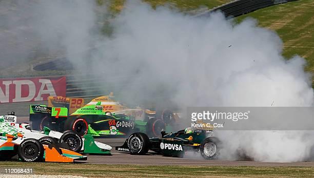 J Viso of Venezuela driver of the KV RacingTechnologyLotus Dallara Honda wrecks during the IndyCar Series Honda Indy Grand Prix of Alabama at Barber...