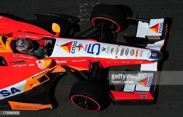 E J Viso of Venezuela driver of the Team Venezuela PDVSA Citgo Chevrolet Dallara during qualifying for race of the IZOD IndyCar Series Honda Indy...