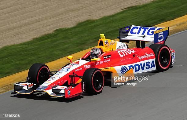 E J Viso of Venezuela driver of the Team Venezuela PDVSA Citgo Chevrolet Dallara during qualifying for the IZOD IndyCar Series Honda Indy 200 on...