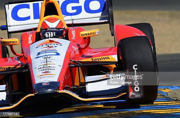 E J Viso of Venezuela driver of the Team Venezuela PDVSA Citgo Chevrolet Dallara for the IndyCar Series GoPro Grand Prix of Sonoma at the Sonoma...