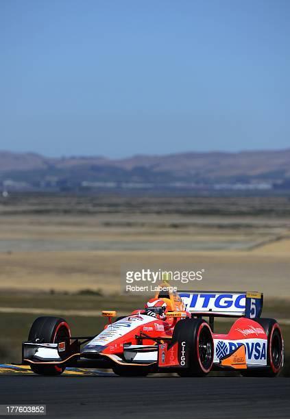 E J Viso of Venezuela driver of the Team Venezuela PDVSA Citgo Chevrolet Dallara during qualifying for the IndyCar Series GoPro Grand Prix of Sonoma...