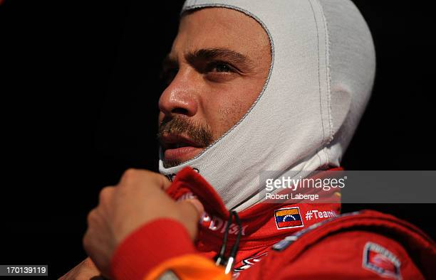 J Viso of Venezuela driver of the Team Venezuela PDVSA/Andretti Autosport Chevrolet looks on during practice for the IZOD IndyCar Series Firestone...