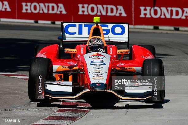 J Viso of Venezuela drives the Team Venezuela PDVSA Citgo Chevrolet during practice for the IZOD INDYCAR Series Honda Indy Toronto on July 12 2013 in...