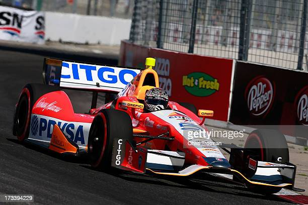 J Viso of Venezuela drives the Team Venezuela PDVSA Citgo Chevrolet during qualifying for the IZOD INDYCAR Series Honda Indy Toronto Race on July 13...